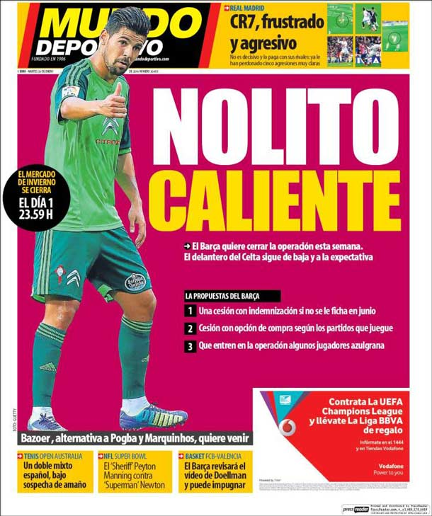Portada del periódico Mundo Deportivo, martes 26 de enero de 2016