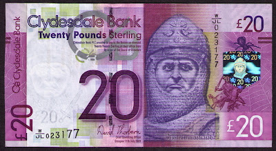 Clydesdale Bank currency 20 Pounds Sterling banknote Robert the Bruce