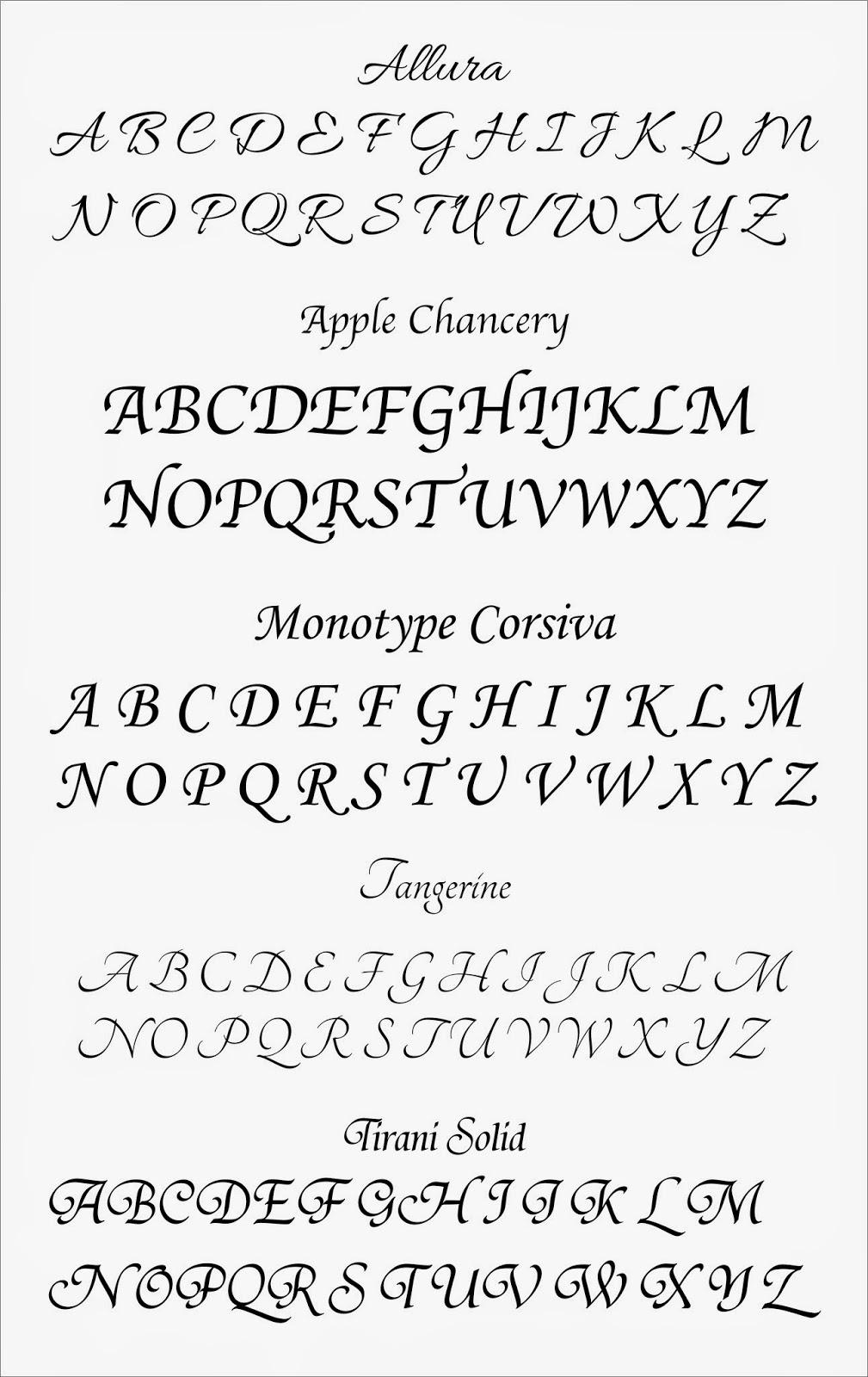 Fancy cursive letters a z