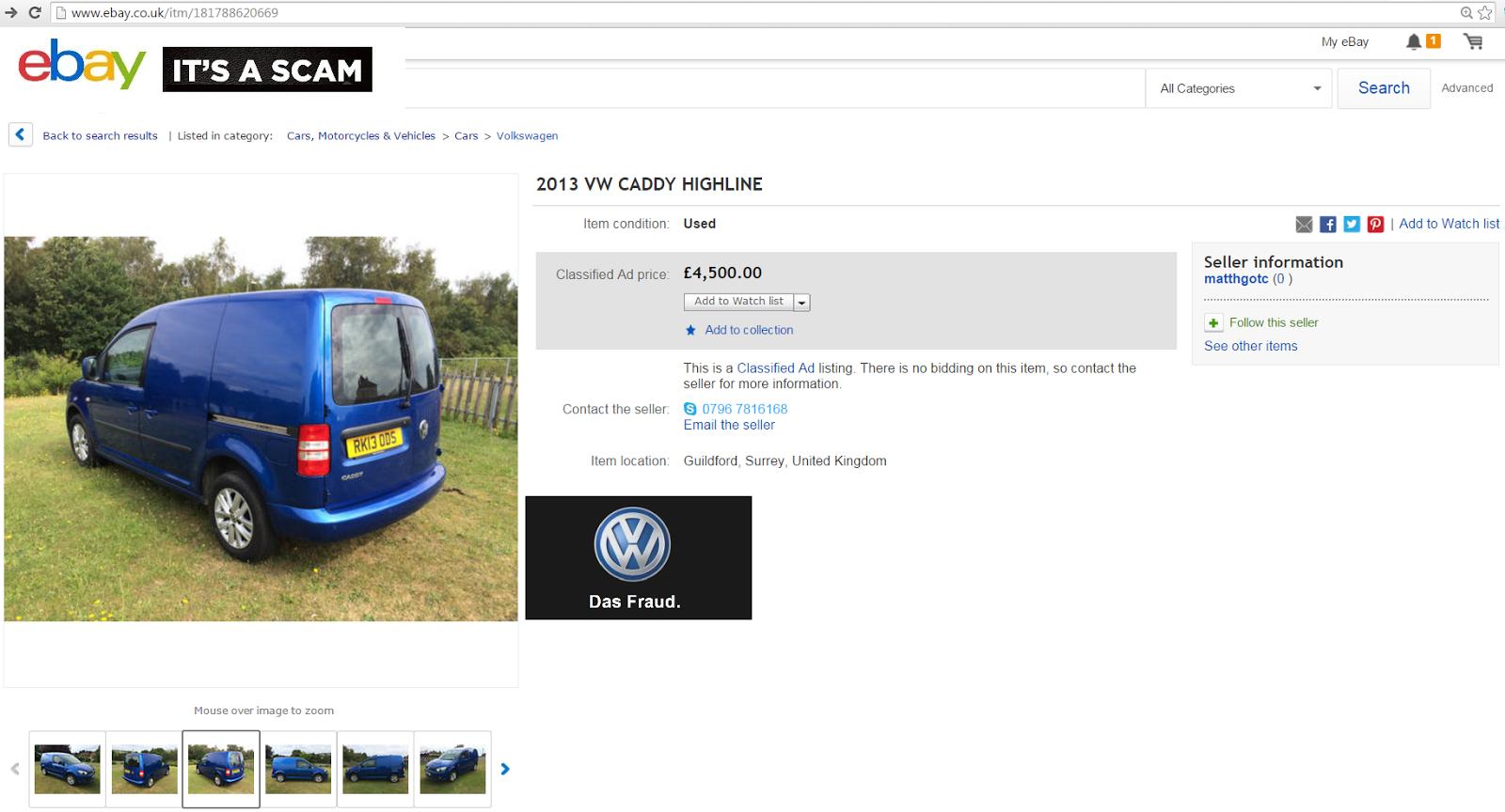 EBAY SCAM : 2013 VW CADDY HIGHLINE | RK13ODS - Fraud - RK13 ODS | 30 ...