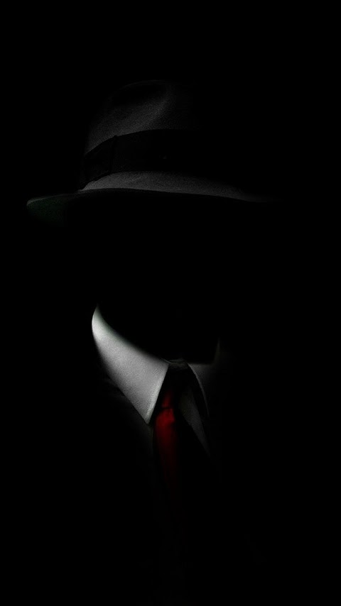 Shadow Man Black Suit Hat Red Tie Android Wallpaper Best Andro