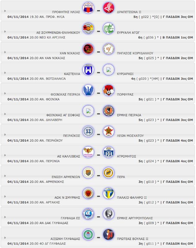 ΤΡΙΤΗ 04.11.2014 | Το πρόγραμμα αγώνων όλων των κατηγοριών - ομίλων.