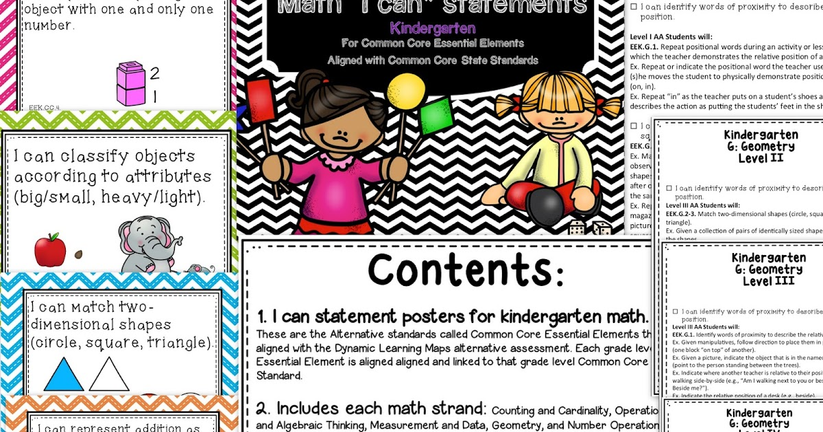 All Things Special Ed Math I Can Posters