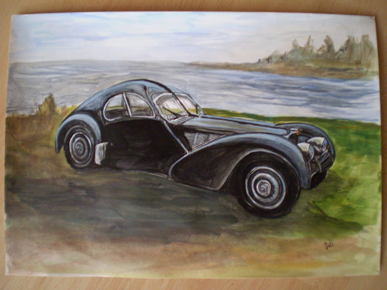 Bugatti 57SC Atlantic pct2 , watercolor, signed Joli, A4