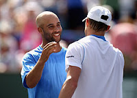Black Tennis Pro's James Blake vs Andy Roddick round 2 2011 BNP Paribas Open