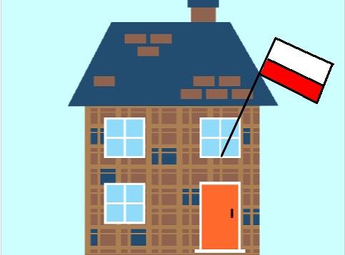 Polska flaga na wietrze