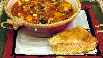 Spicy Chicken Soup and Cornbread - the perfect fall dinner