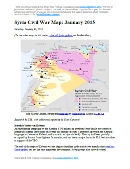 Map of fighting and territorial control in Syria's Civil War (Free Syrian Army rebels, Kurdish groups, Al-Nusra Front, Islamic State (ISIS/ISIL) and others), updated for January 2015. Highlights recent locations of conflict and territorial control changes, such as Kobani (Ayn al-Arab) and others, and for the first time uses a separate symbol for al-Nusra control.
