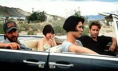 Brad Pitt, Juliette Lewis, Michelle Forbes, and David Duchovny go for a ride in Dominic Sena's KALIFORNIA