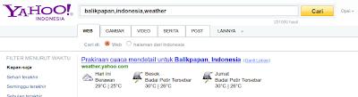 informasi cuaca di Yahoo