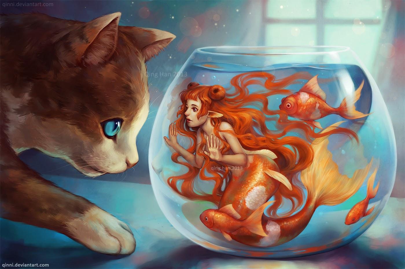 illustration de Qing Han d'un chat regardant un bocal contenant une sirène