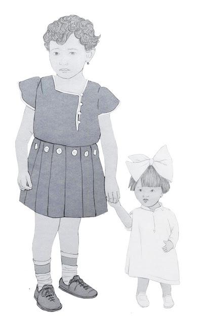 niña, muñeca, años 20, dibujo