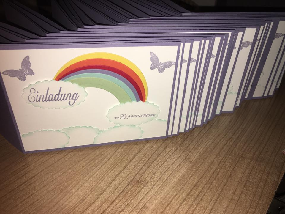 Einladung Kommunion Regenbogen At Einladungs. Bianca´s Bastelkämmerlein:  Januar 2016, Einladungs