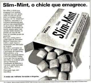 propaganda chiclete slim-mint - 1975, propaganda década de 70. Oswaldo Hernandez. anos 70. Reclame anos 70
