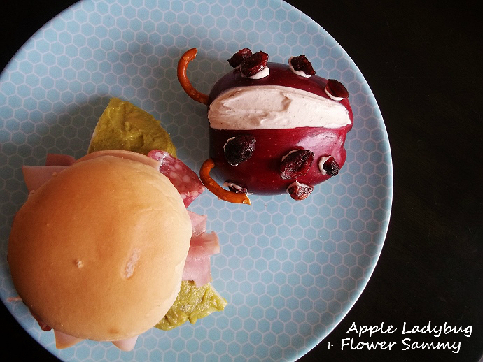 Apple Ladybug and Flower Sandwich