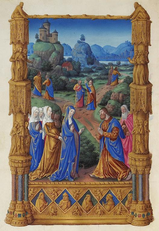 Os Apóstolos se despendem de Nossa Senhora antes de ir evangelizar, Très Riches Heures du Duc de Berry, Folio 122v, Limbourg brothers (1385-1416)