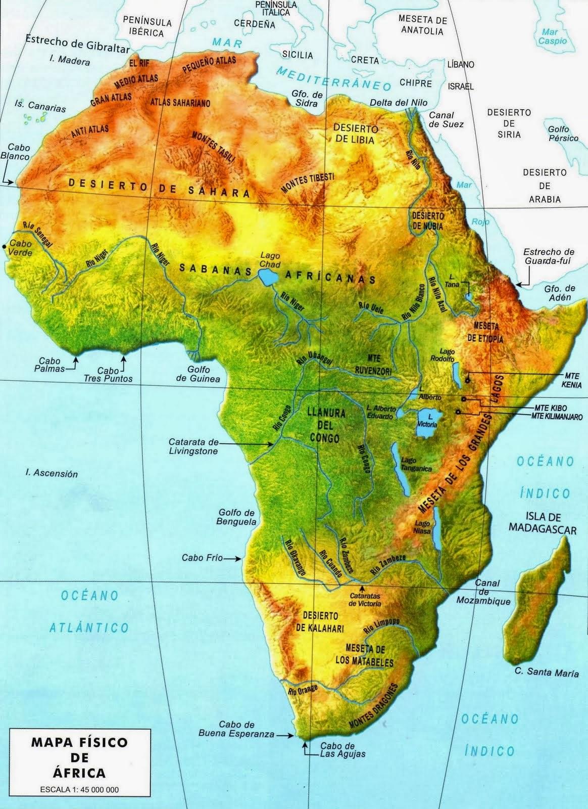 Relieve De Africa Mapa