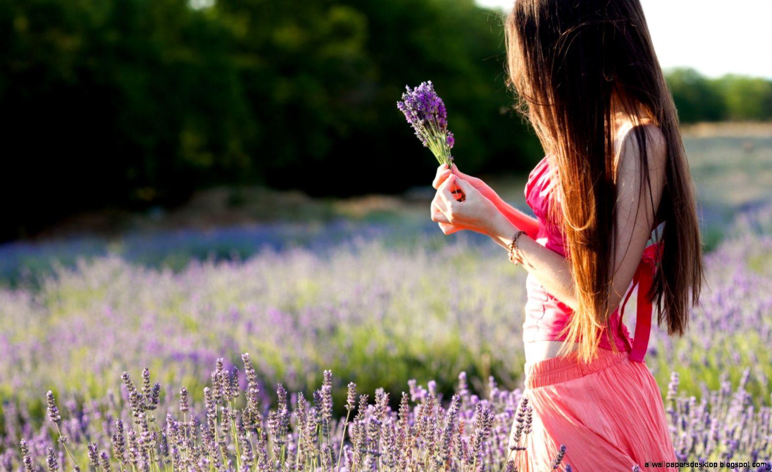 Mood Girl Field Flowers Purple Nature HD Wallpaper   FreeWallsUp