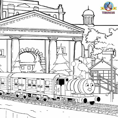 Clip art picture of tank engine Percy & Thomas the train printable coloring pages to print and color