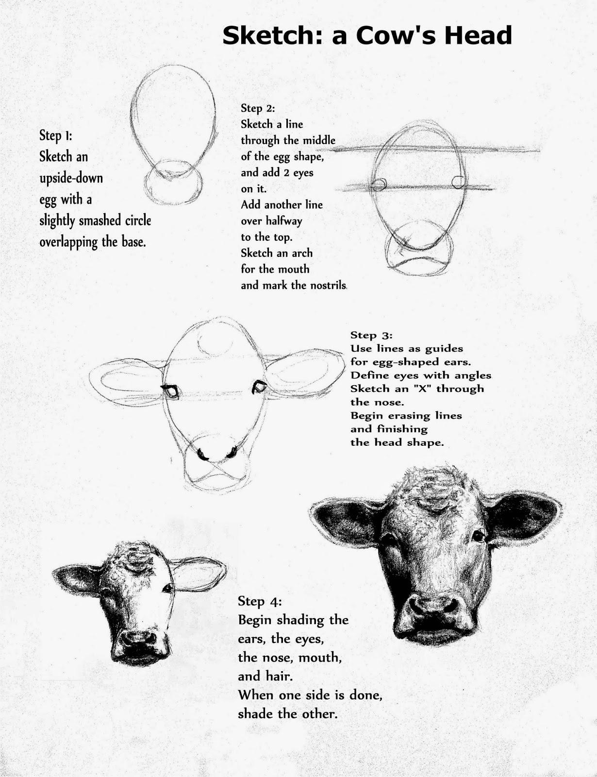 pails of paint art lesson the face of a cow