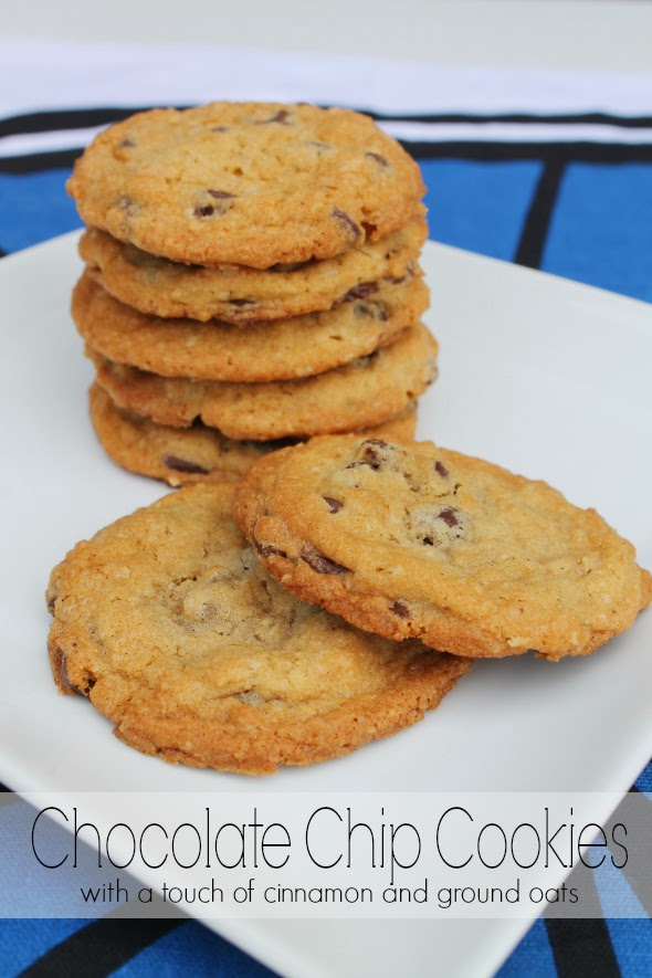 Chocolate Chip Cookies with a touch of cinnamon and ground oats - WhatchaMakinNow.com