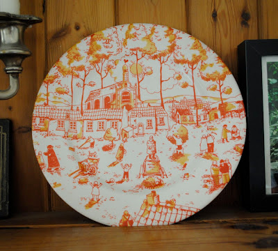 Orange English Ironstone plate
