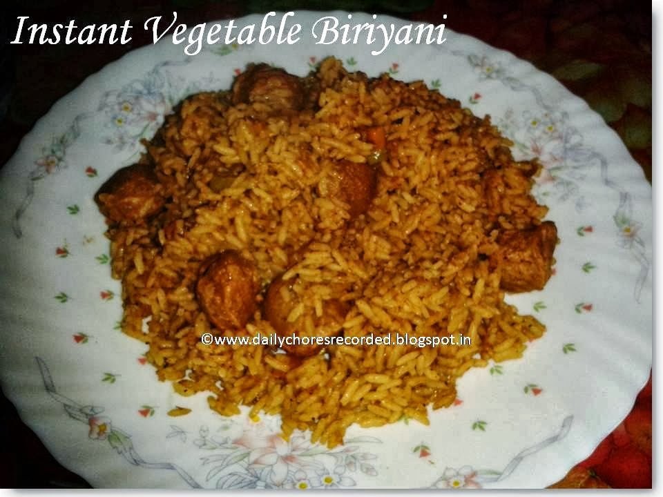 Instant Organic Garden : Instant vegetable biriyani cooking baking