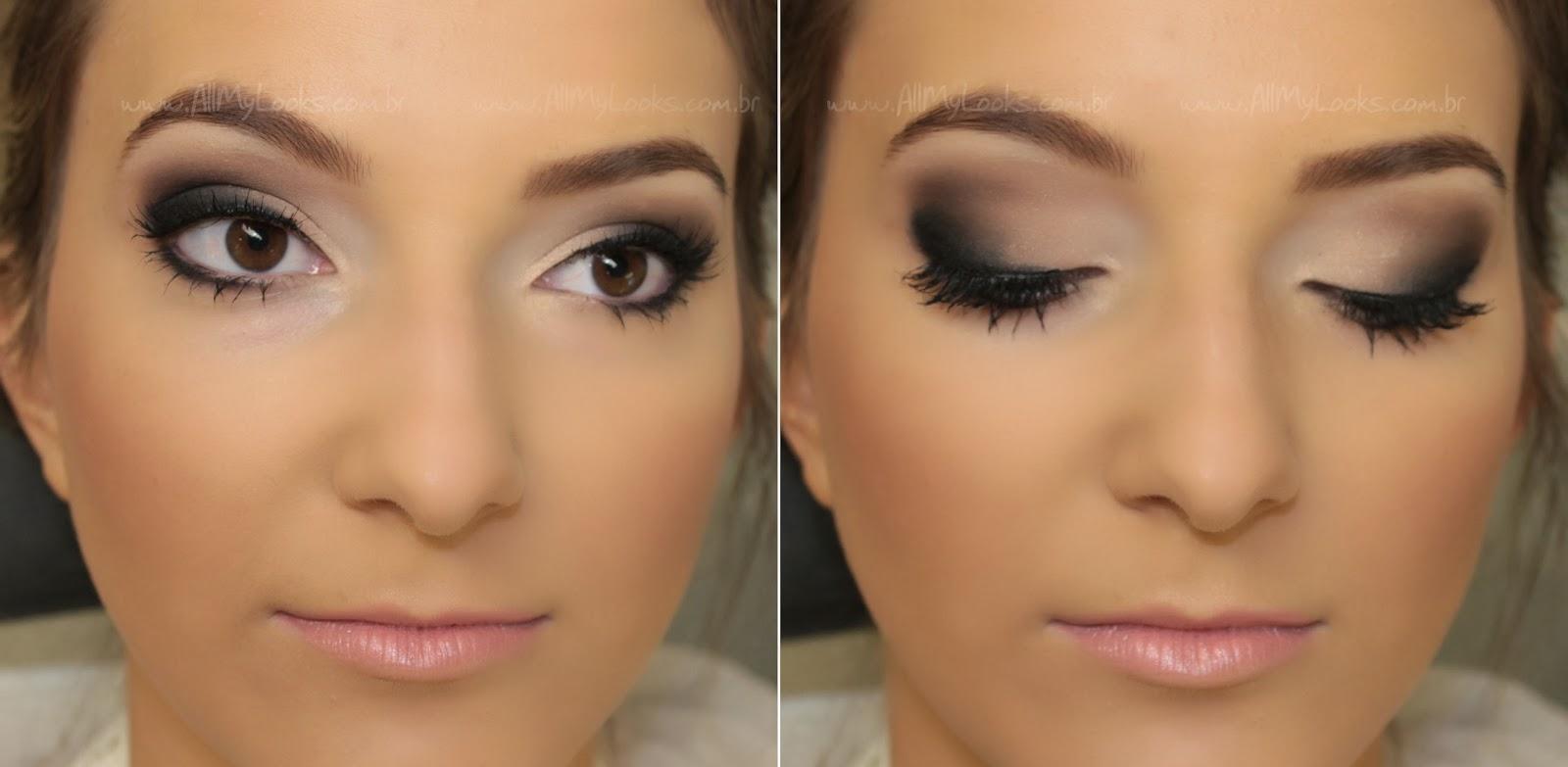 Maquiagem para usar com vestido preto de dia
