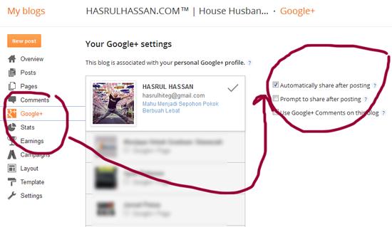 Teknik Mudah Kongsi Entri Blog Guna Google Plus