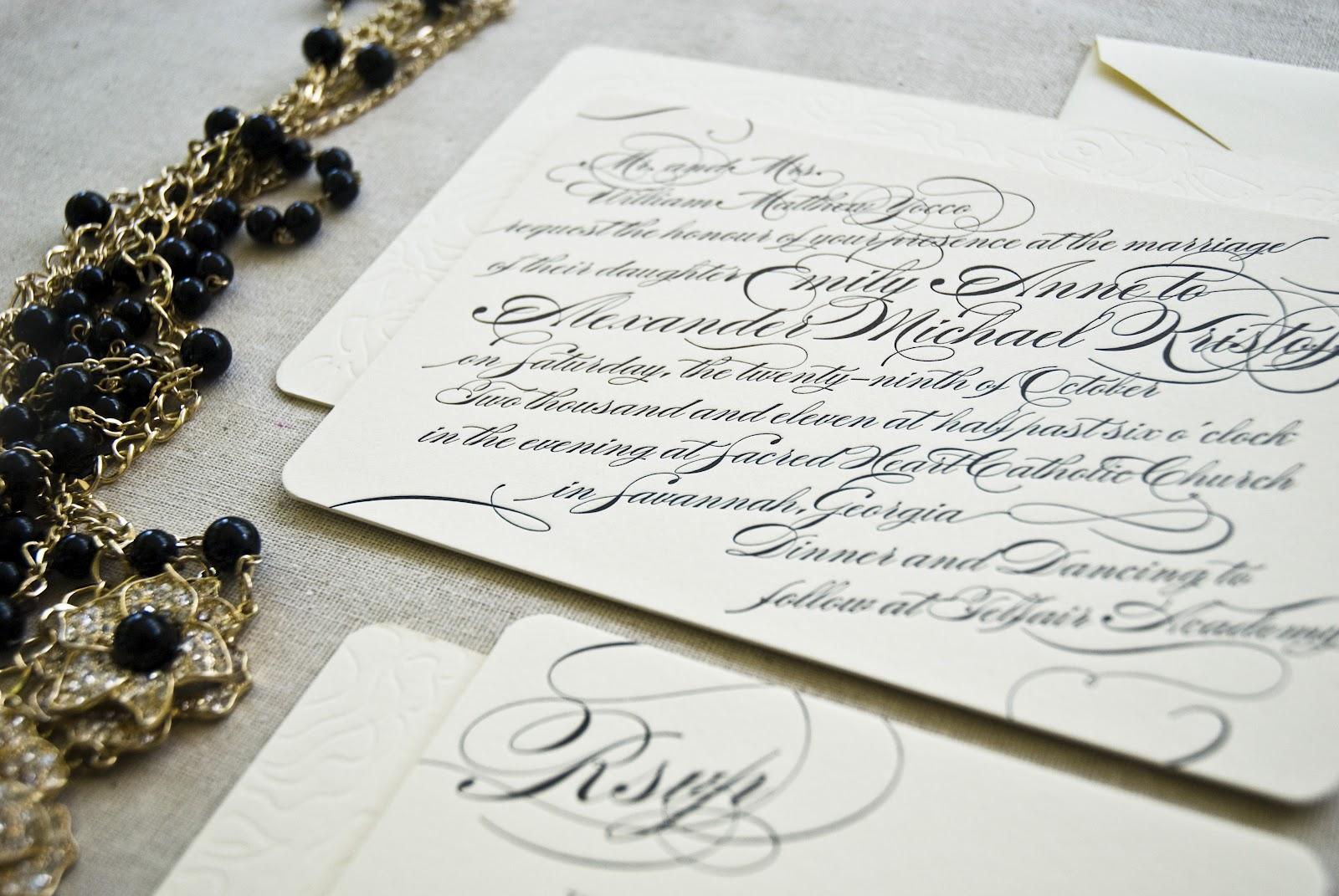 Calligraphy Style Letterpress Wedding Invitations - emilymccarthy.com