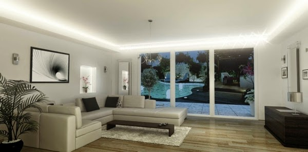 LED ceiling lighting ideas: integrated LED lighting in modern lounge