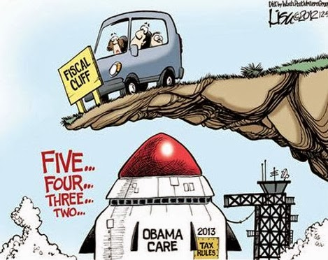 political cartoons,obamacare, fiscal cliff