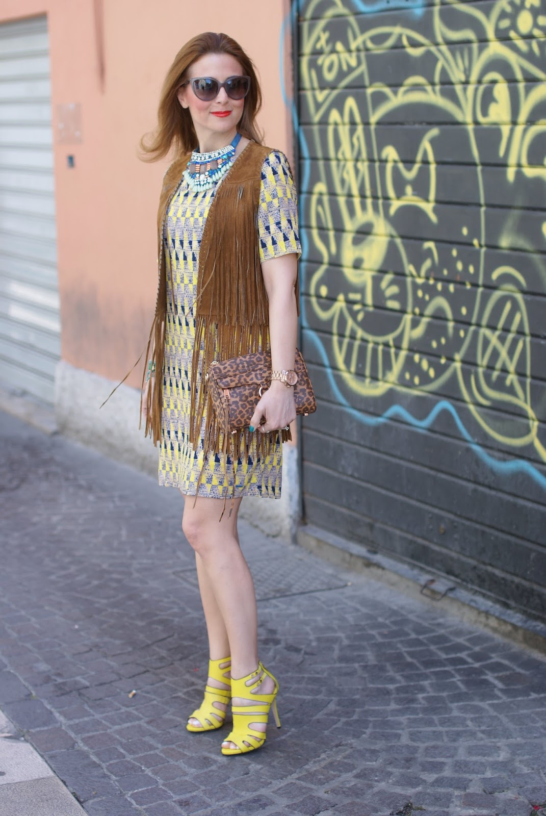 fringe vest, Zara fringe vest and Paramita dress on Fashion and Cookies fashion blog