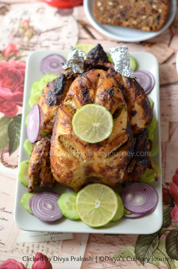 Indian spiced whole roasted chicken, spicy chicken roast