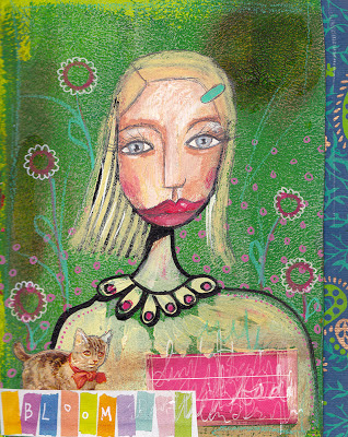 Portrait Young Woman Blond Blue eyes red lips kitten Art Journal Mixed Media Marieke Blokland Bloknote