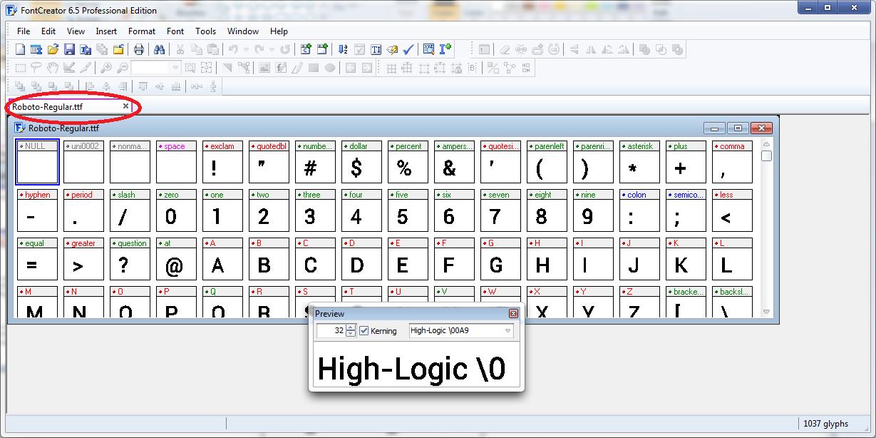 Gambar diatas merupakan screenshot FontCreator dari font Roboto ...