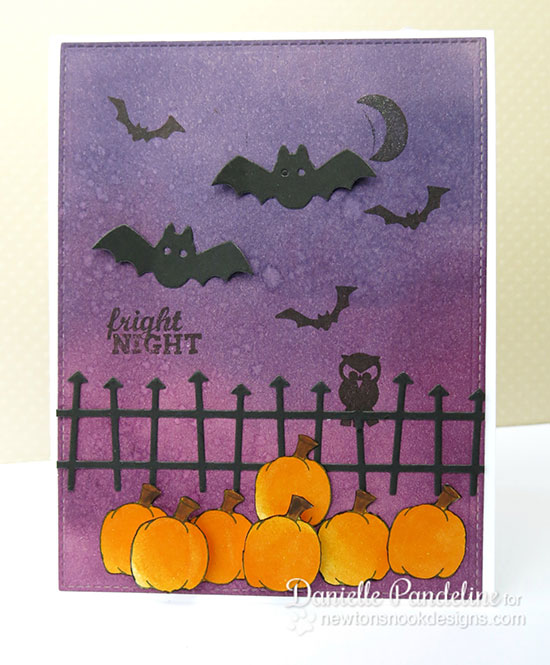Fright night Halloween card by Danielle Pandeline for Newton's Nook Designs | Spooky Street & Newton's Perfect Pumpkin Stamp sets