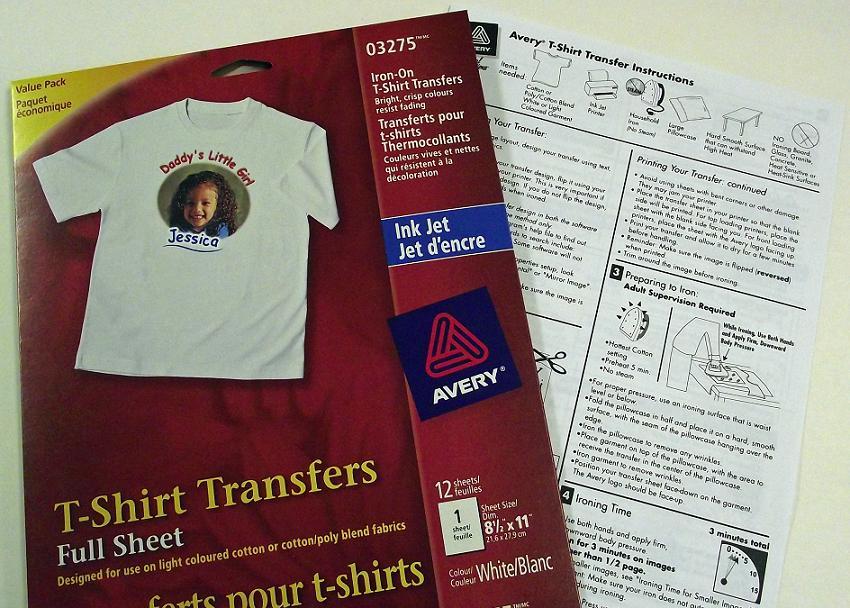 Avery Fabric Transfer Instructions