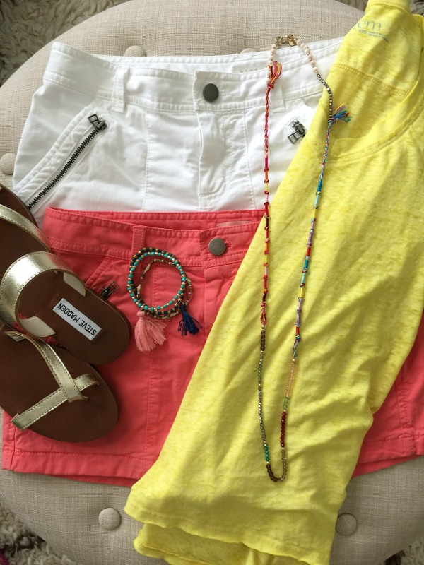 Summer Fashion - perfect vintage military shorts (other colors) + colorful tank and metallic sandals