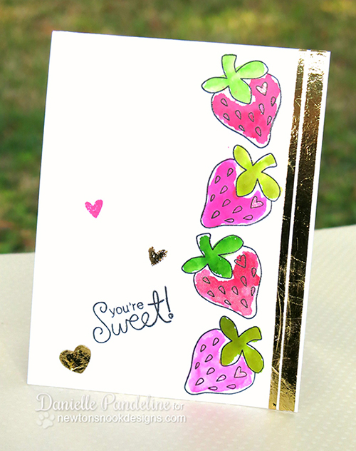 Strawberry One Layer Card by Danielle Pandeline | Sweet Summer Stamp set by Newton's Nook Designs