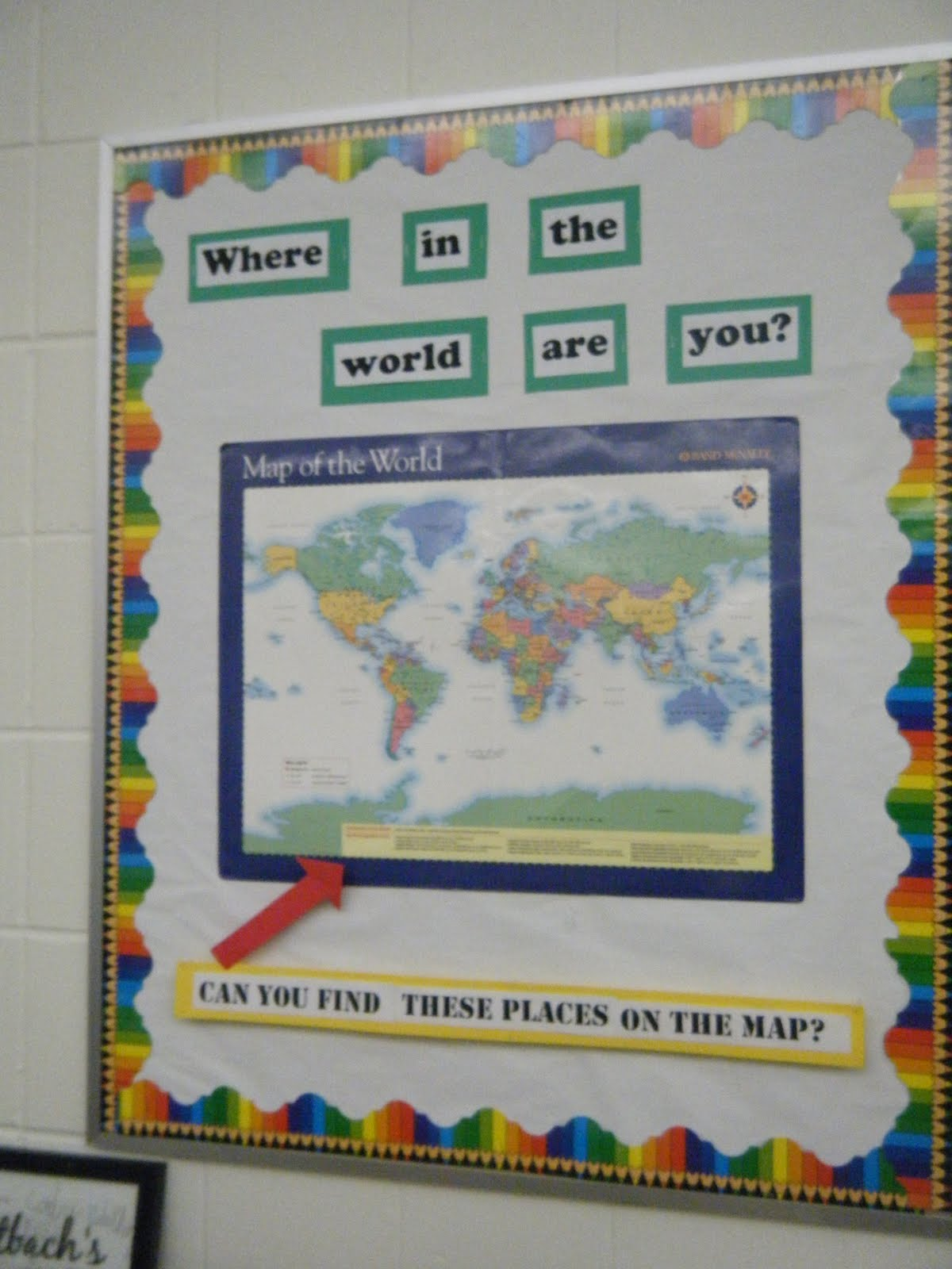 Geography Classroom Decor ~ Geography bulletin board give clues and kids find draw