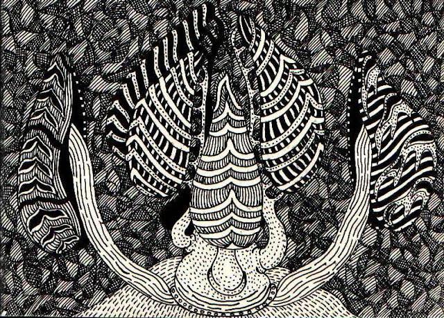 Фантастические гигантские грибы на холме. Абстракция. Графический рисунок тушью