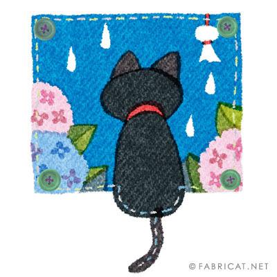 窓から雨をみつめる黒猫と紫陽花のイラスト