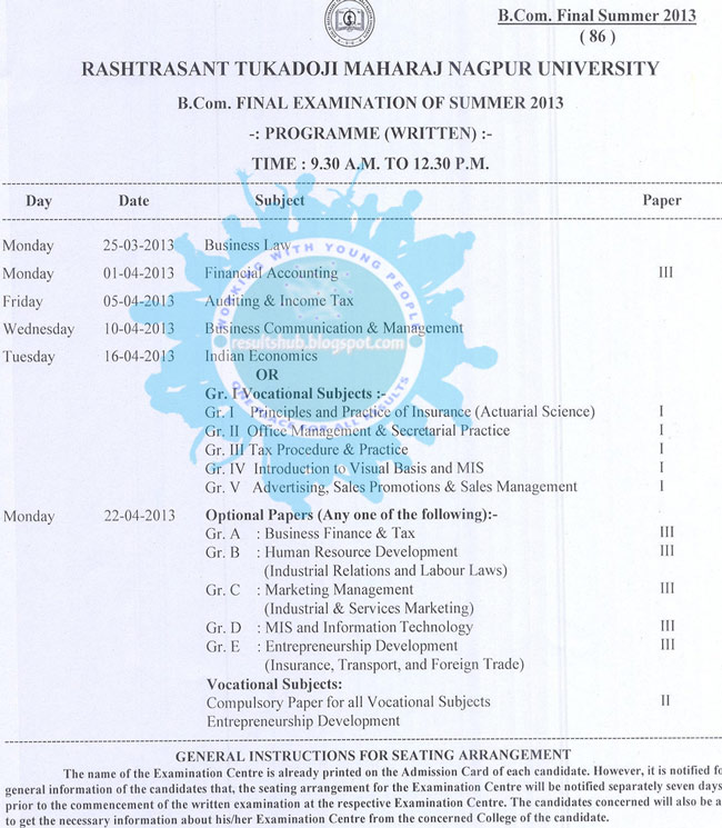 B.Com. Final Year Summer 2013 Timetable Nagpur University