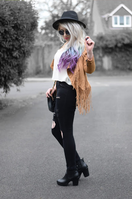 Sammi Jackson - Fringed Jacket + Ripped Jeans