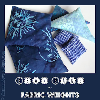 make your own bean bags or rice bags for fabric weights