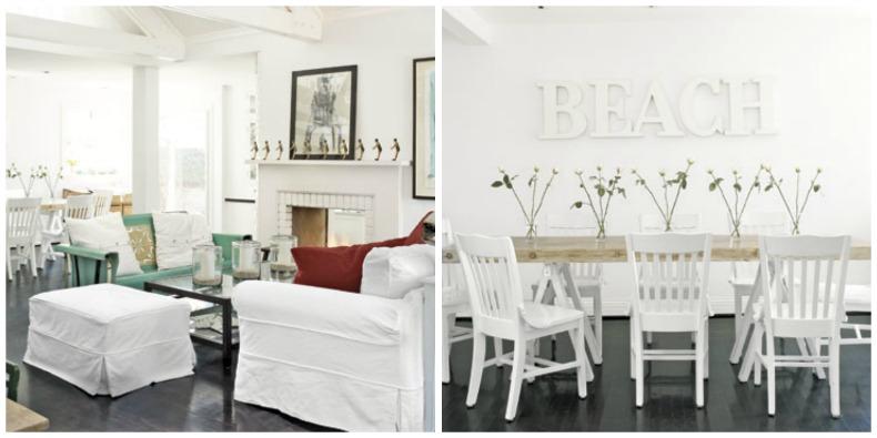 Coastal beach house wiht white slipcover furniture