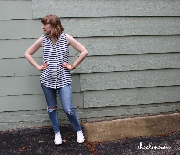 weekend look with stripes and white sneakers | www.shealennon.com