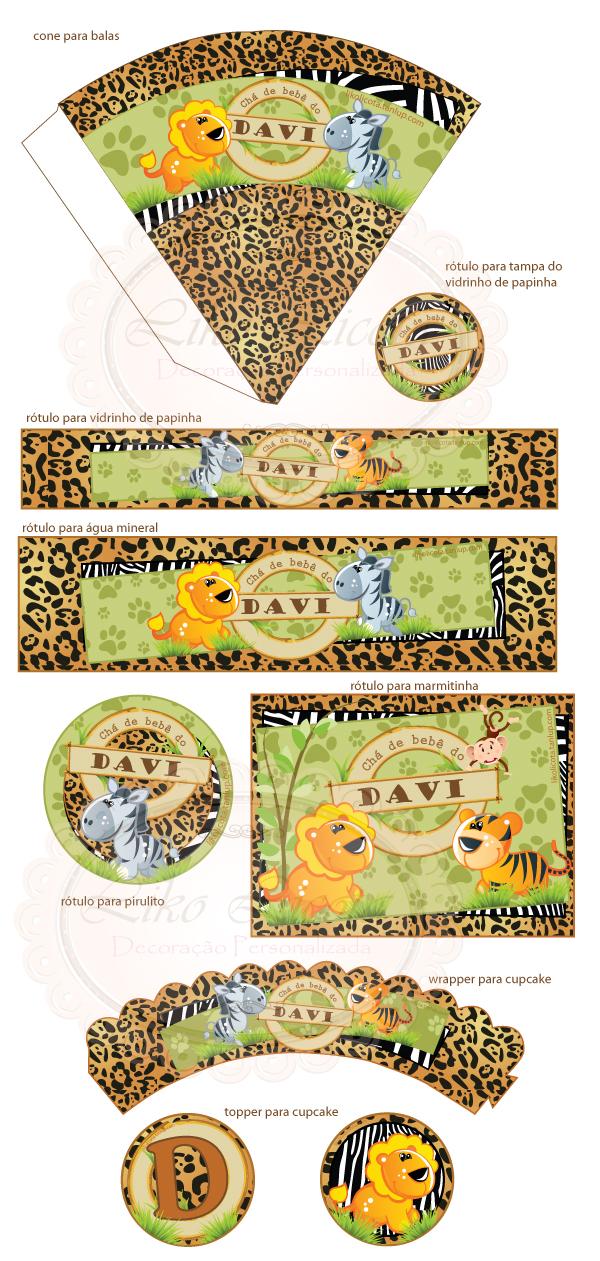 rotulos personalizados para chá de bebê no tema safari