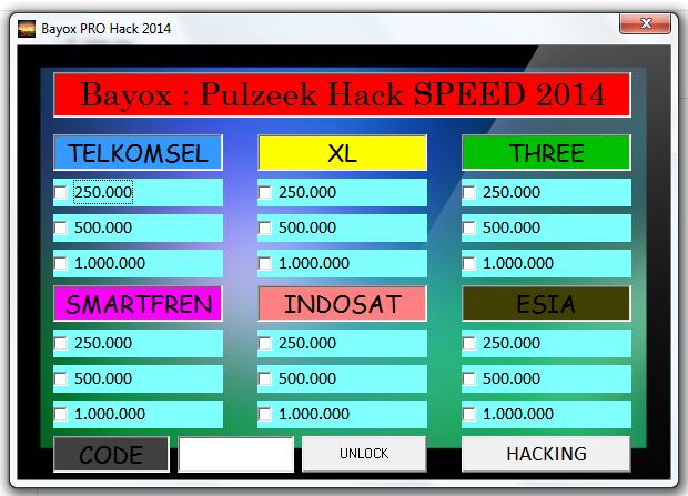 Hack SPEED 2014. Tool ini dapat menghack Pulsa Telkomsel, XL, Three